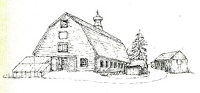 The Kycia 1913 dairy barn as Sketched by EB Wolf